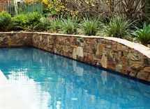 Castlemaine slate walling around swimming pool Great Ocean Pools